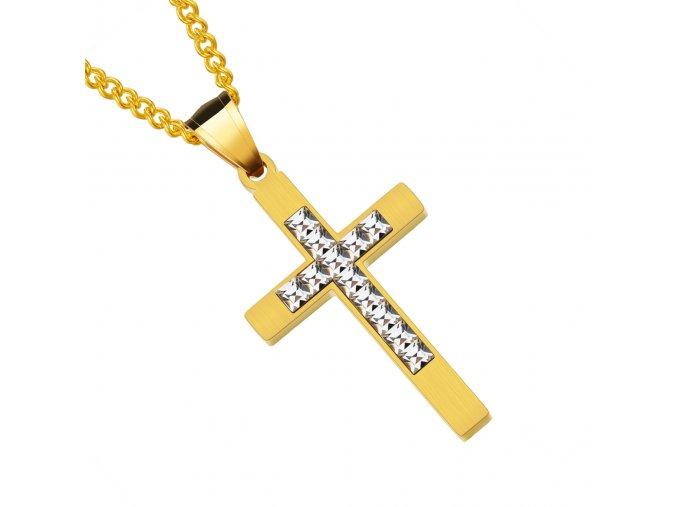 Retiazka s malým krížom, chirurgická oceľ zlatej farby, číre zirkóny (1)