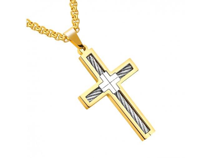 Retiazka s krížom z chirurgickej ocele, lanko, zlatá a strieborná farba (1)