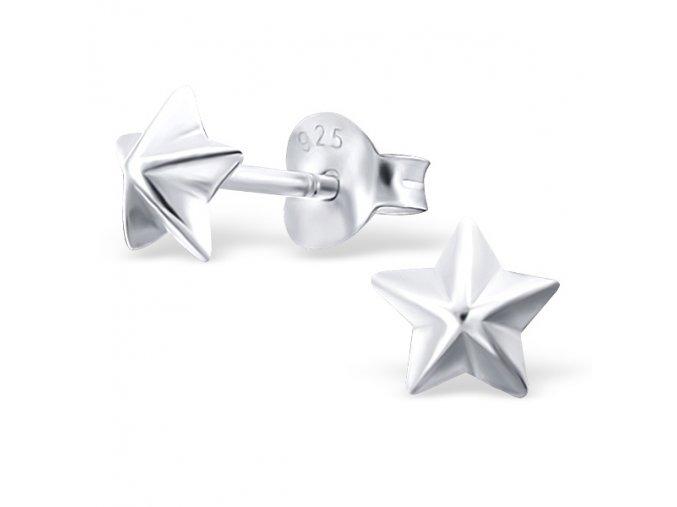 Dámske strieborné náušnice 925, lesklé hladké hviezdičky