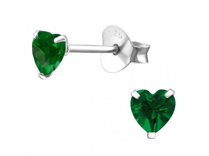 Dámske strieborné náušnice 925, zelené zirkónové srdcia 4 mm