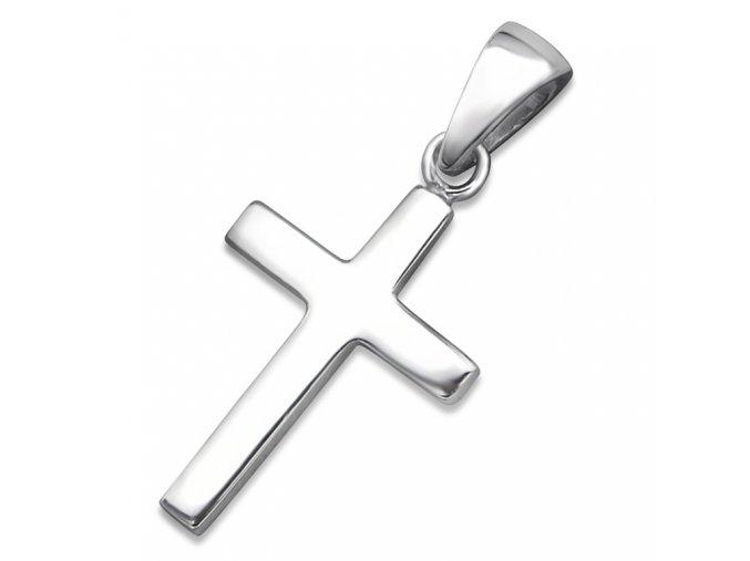 Prívesok malý krížik zo striebra 925, hladký zrkadlový povrch
