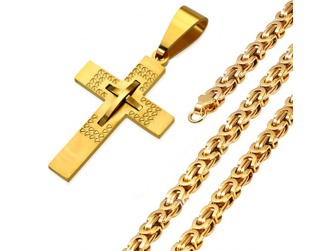 Retiazka s krížom pre muža, kráľovský vzor, chirurgická oceľ zlatej farby (1)