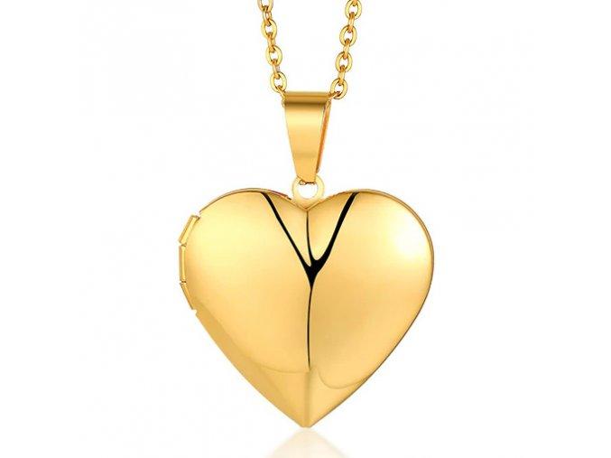 Medailón na fotky, 3D srdce z chirurgickej ocele, zlatá farba