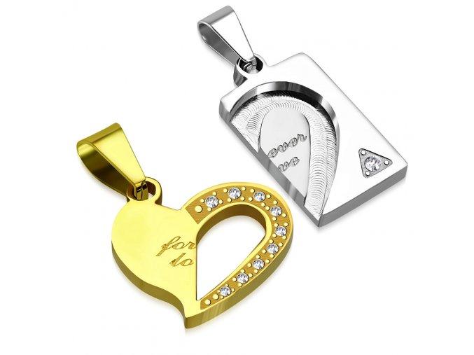 Prívesky pre zamilovaných z ocele, srdce a známka, číre zirkóny