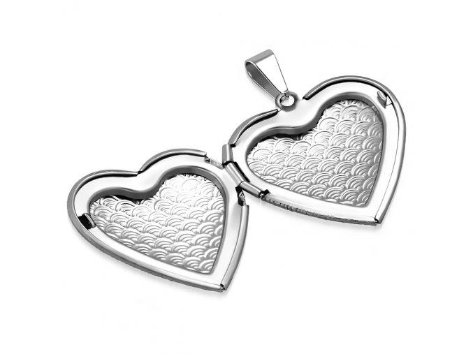 Medailón na fotky, 3D srdce z ocele, strieborná farba a gravírovanie (1)