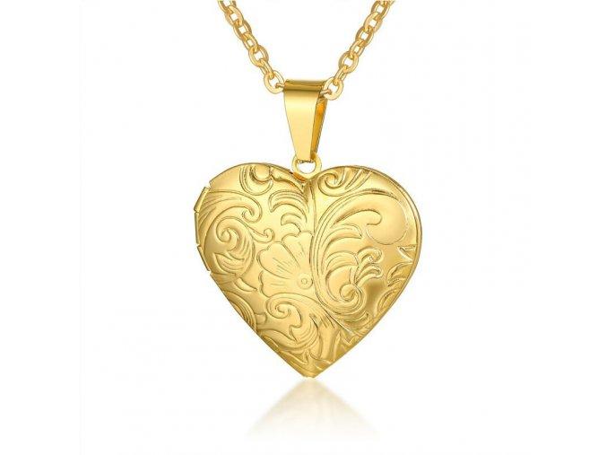 Medailón na fotky, 3D srdce z ocele, zlatá farba a gravírovanie