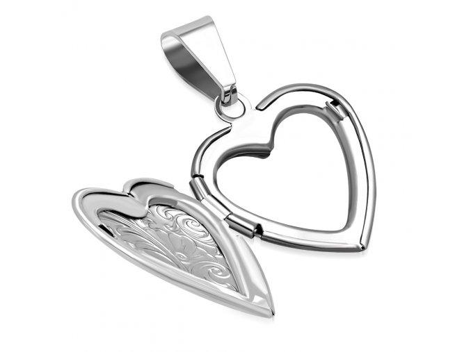 Medailón 3D srdce na fotky, oceľ striebornej farby, gravírovanie