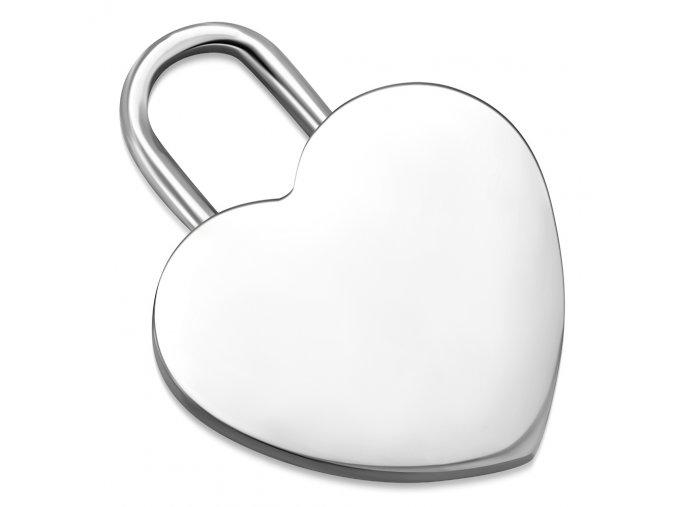 Prívesok srdce na retiazku, oceľ striebornej farby, zrkadlový povrch