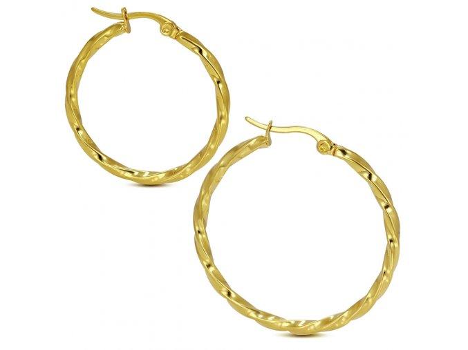 Stočené náušnice kruhy z chirurgickej ocele, zlatá farba 30 mm