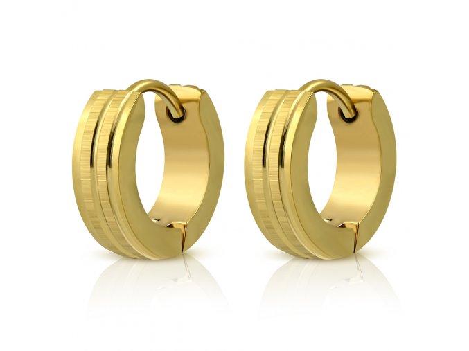 Dámske náušnice z ocele, zlatá farba, dva saténové pásy