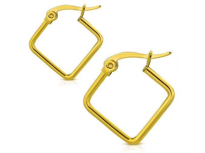 Náušnice pre ženu z chirurgickej ocele, štvorce zlatej farby 15 mm