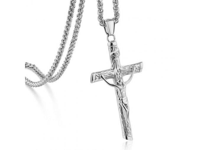 Pánska retiazka Spiga s krížom, oceľ striebornej farby, Ježiš na kríži (1)