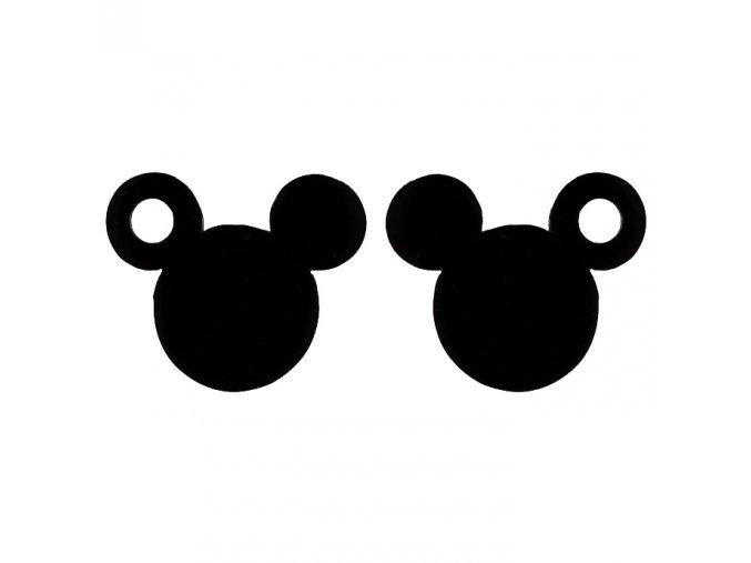 Puzetové náušnice z chirurgickej ocele, Mickey Mouse čiernej farby, dierka