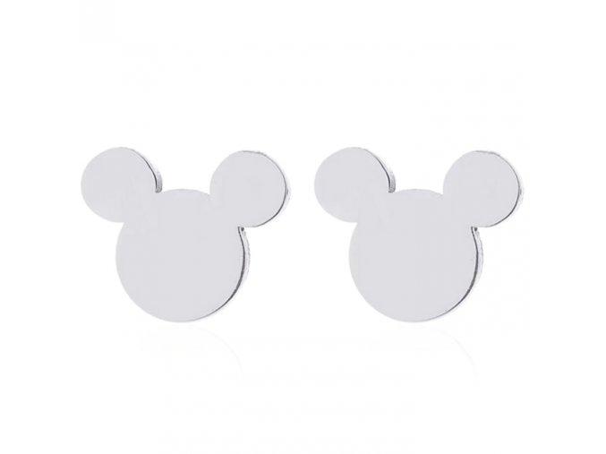 Malé náušnice z chirurgickej ocele, Mickey Mouse striebornej farby