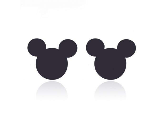 Puzetové náušnice z ocele, Mickey Mouse čiernej farby