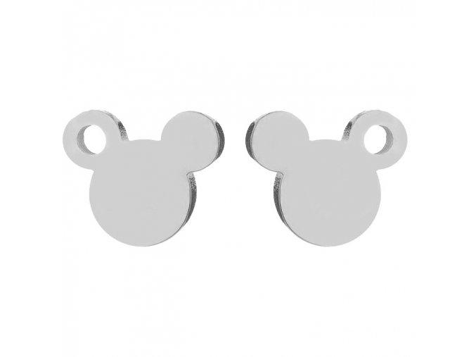Puzetové náušnice z ocele, Mickey Mouse striebornej farby, dierka