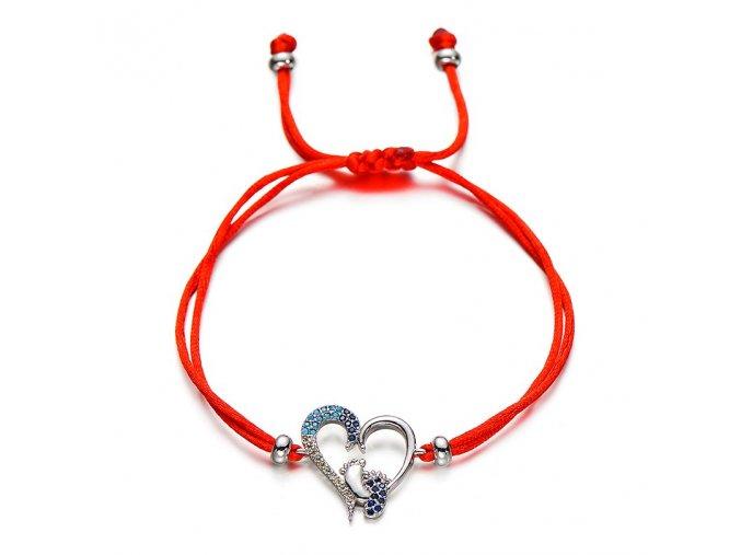 Červený náramok, prívesok so srdcom, detské nožičky, farebné zirkóny bižutéria (1)