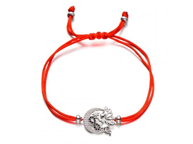 Červený náramok s príveskom, malá víla so zirkónmi, symbol nekonečna bižutéria (1)