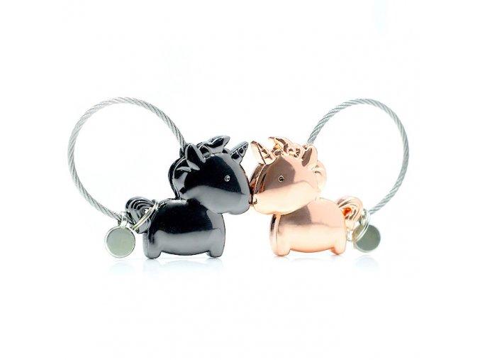 Kľúčenky pre dvoch, jednorožce a lanko, ružovo zlatá a čierna farba (1)