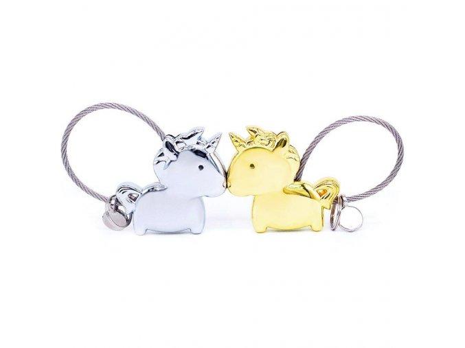 Kľúčenky pre dvoch, jednorožce a lanko, zlatá a strieborná farba (1)