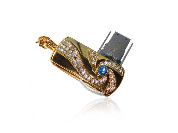 USB kľúč, prívesok pre ženu, zirkóny, zlatá farba - 8GB