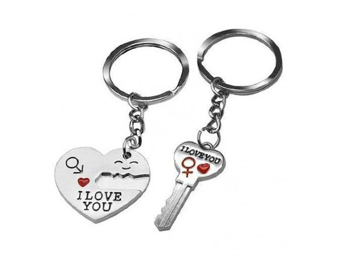 Kľúčenky pre dvoch, srdce a kľuč, nápis I LOVE YOU, gravírovanie