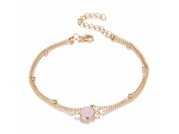 Boho retiazka na nohu pre ženu, zlatá farba, umelý ružový opál bižutéria (1)