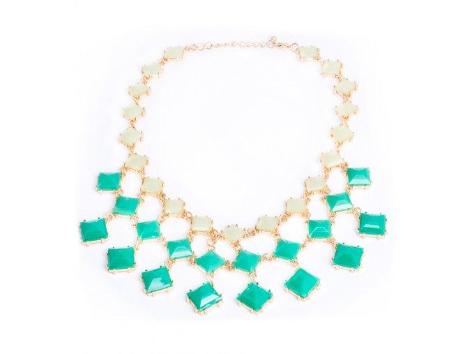 Náhrdelník pre ženu, ombre zelené kamienky, zlatá farba, bižutéria