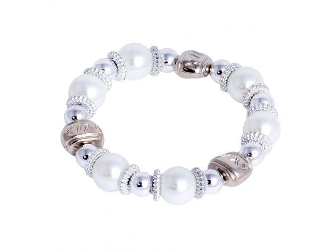 Dámsky náramok bielej a striebornej farby, perly, bižutéria
