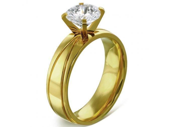 Zásnubný prsteň z ocele zlatej farby, číry kamienok, ryhy Solitér