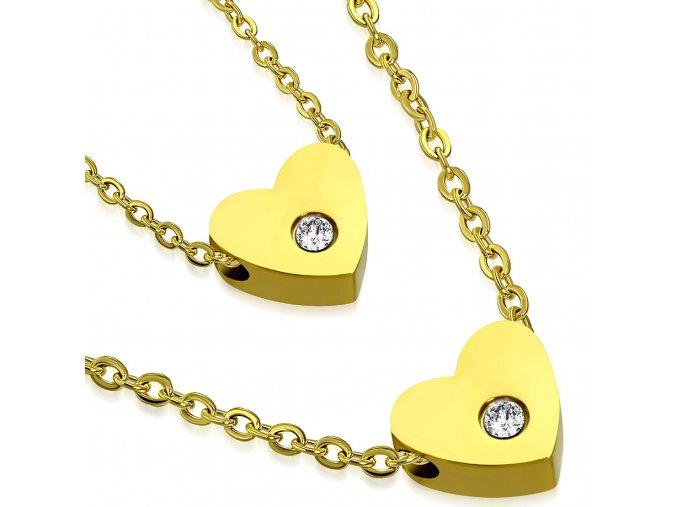 Náhrdelník pre ženu so zirkónom, dve srdcia, zlatá farba, oceľ (1)