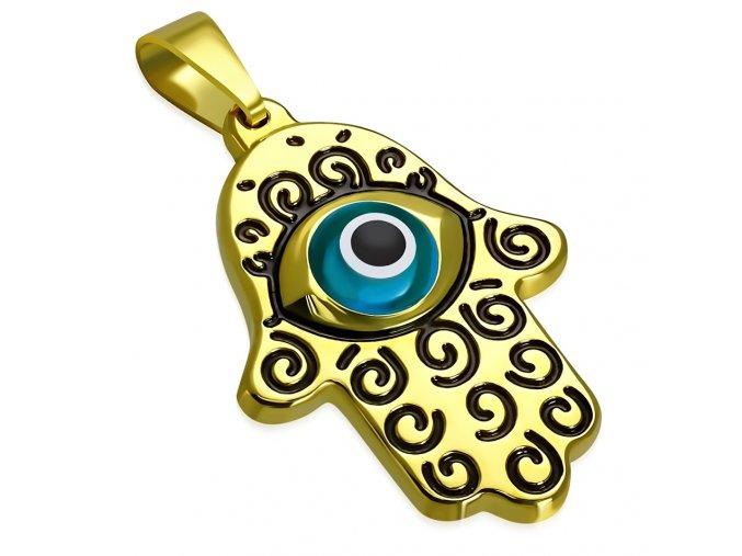 Prívesok z chirurgickej ocele, Fatima zlatej farby, diabolské oko (1)