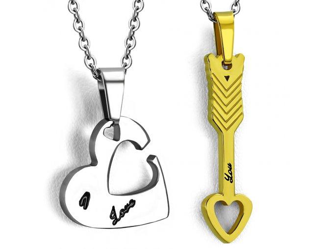 Prívesok pre dvoch z ocele, srdce a šíp, zlatá a strieborná farba