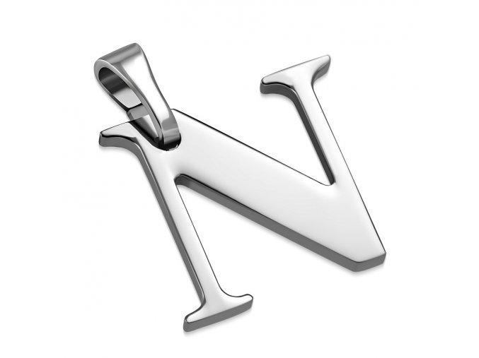 Písmenko N na retiazku, prívesok z ocele striebornej farby (1)