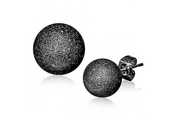 Guličkové náušnice z chirurgickej ocele, čierna farba - 10 mm