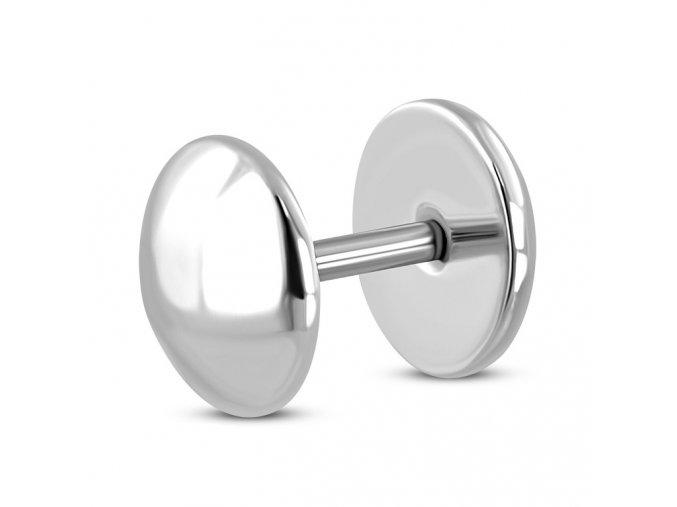 Falošný piercing z ocele, lesklý povrch striebornej farby, fake plug (1)