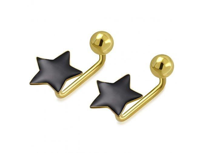 Detské šrubovacie náušnice z ocele zlatej farby, gulička a čierna hviezda