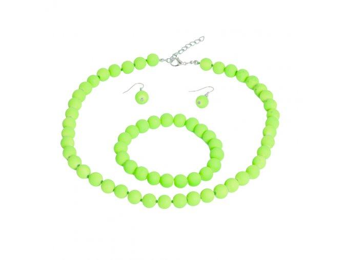 Náhrdelnik, náramok a náušnice pre ženu zelenej farby, bižutéria