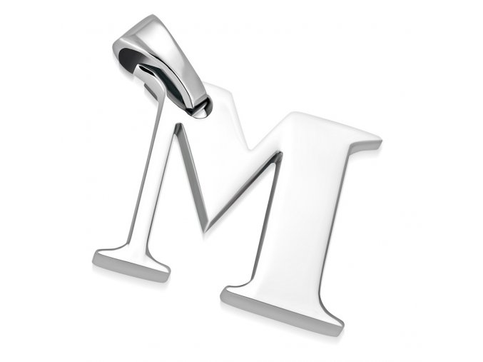 Písmenko M na retiazku, prívesok z ocele striebornej farby (1)