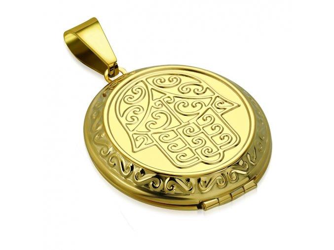 3D medailón na fotky z ocele, ruka Fatimy, zlatá farba, gravírovanie (2)