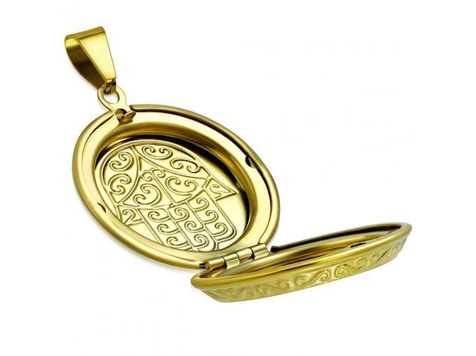 3D medailón na fotky z ocele, ruka Fatimy, zlatá farba, gravírovanie (1)