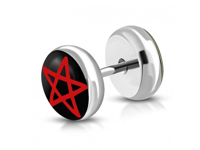 Falošný piercing z ocele, červený pentagram a číra glazúra, fake plug (1)