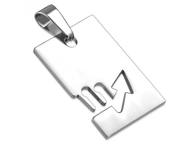Prívesok známka z ocele striebornej farby, znamenie zverokruhu ŠKORPIÓN (1)