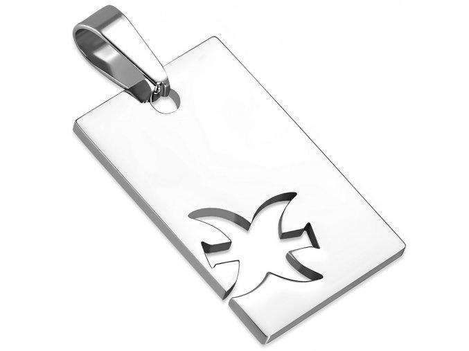 Prívesok známka z ocele striebornej farby, znamenie zverokruhu RYBY (1)