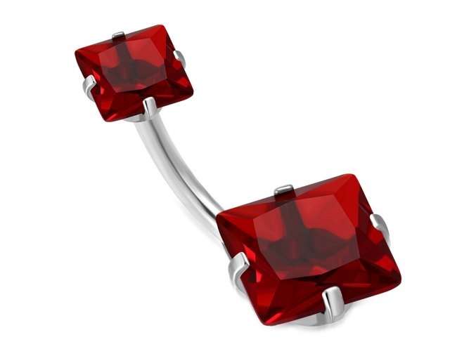 Piercing do pupka z chirurgickej ocele, červené zirkónové štvorce (1)