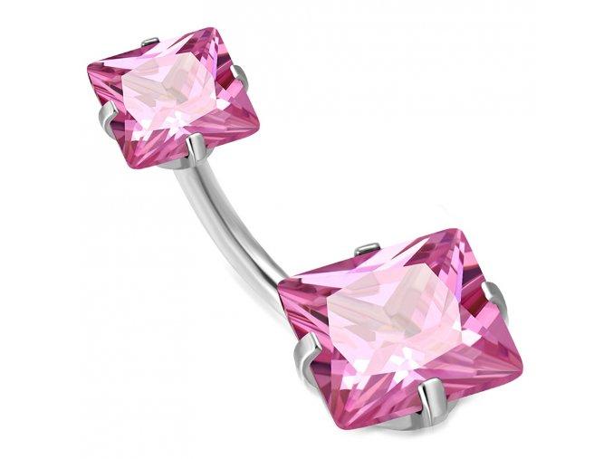 Piercing do pupka z chirurgickej ocele, ružové zirkónové štvorce (1)