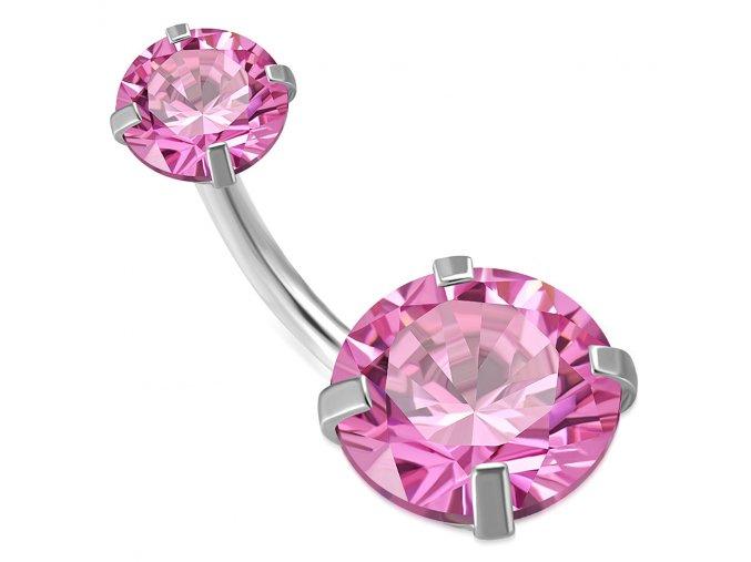 Piercing do pupka z chirurgickej ocele, ružové zirkónové kruhy (1)