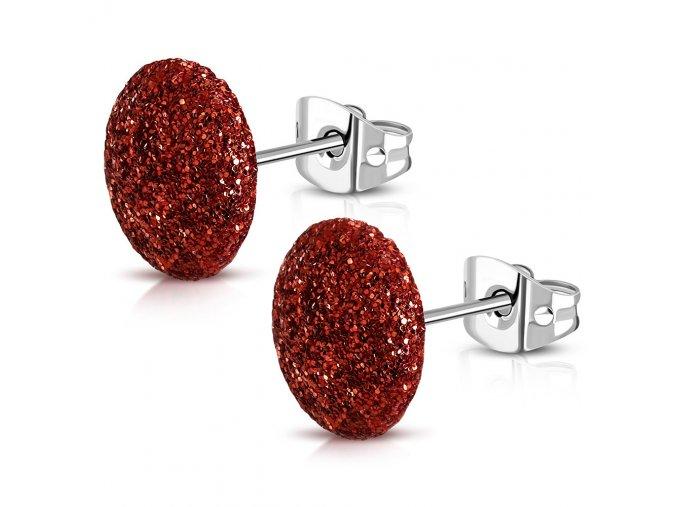 Puzetové trblietavé náušnice z ocele, červená farba 12 mm