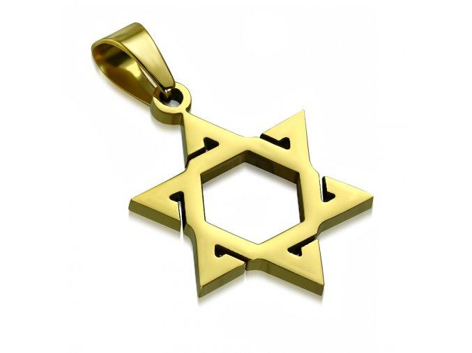 Prívesok Dávidova hviezda z chirurgickej ocele, zlatá farba, zárezy (1)