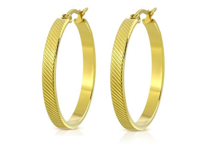 Okrúhle náušnice pre ženu, oceľ zlatej farby, šikmé ryhy 30 mm